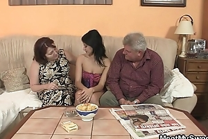 Uncomplicated girl is seduced by her boyfriend'_s mom and fucked by age-old daddy
