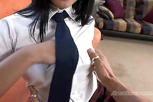 Young Schoolgirl Explored unconnected with Mute Bastard