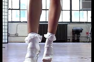 Yaxeni in a Tiny White Mini-Skirt