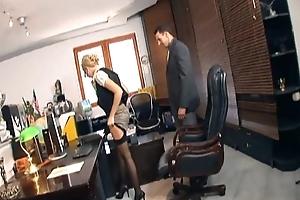 Secretary having it away in nylons and stilettos