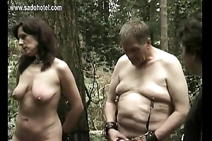 Horny underling predestined to tree receives pulled in the sky will not hear of beautiful tits and receives hit in the sky will not hear of cunt with a stick