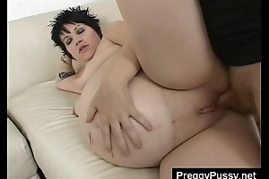 Pregnant bitch with belly accessible to pop pussy licked coupled with brim-full with dick