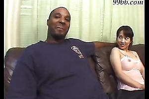Oriental girl fucks a ebony dude