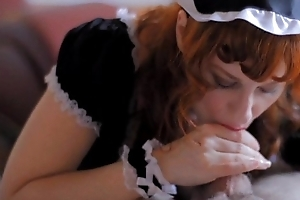 Redhead Camille Crimson Gives a French Maid Blowjob