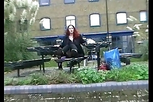 Redhead Amateur Uk Babe Monica Optimistic and masturbating in down a bear in London