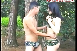 Angela Naughty transsexual ass fuck outdoor