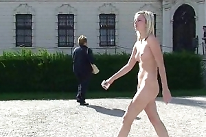 Lucie - Amazing hot blonde newborn naked in public streets