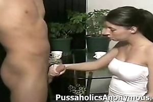 Skank giving an aggressive milking handjob