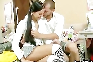 Insidious Be alive Schoolgirl French Giving a kiss Tutor