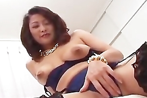 Busty japanese girl in lingerie engulfing part1