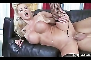 Blonde busty MILF Nikita Von James crashes party & rides big-dick