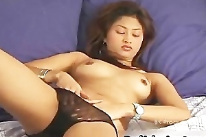 Teen asian shoves a huge dildo into the brush part3