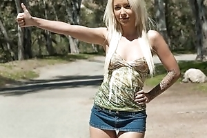 Stunning young blond hitchhiker Stevie Shae is picked up & fucked