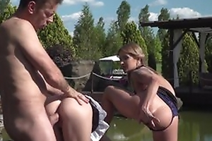 Rocco hardcore around pool with two girls