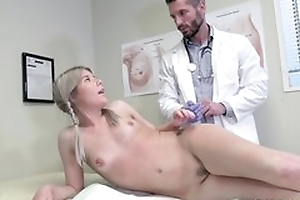 Young blonde girl seduces contaminate to hardcore sex plus oral sex