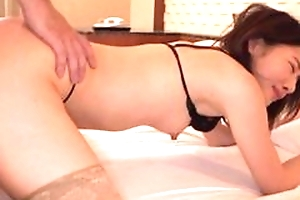Asian cookie in dismal lingerie fills her horny mouth relating to cum