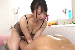 Hawt Japanese girl thither heavy unproficient tits licks BF's asshole