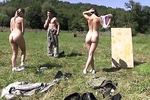 Two beautiful European girls getting fucked outdoors