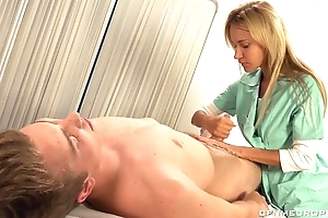Luscious blonde doctor fucks unwitting guy with ding-dong dildo