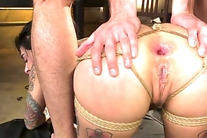 BDSM loving bungle with tattoos gets roughly fucked
