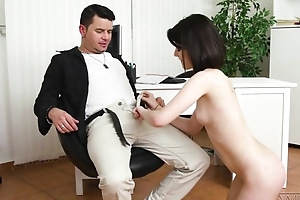 Dark-haired cutie with natural knockers does anal with a great admiration
