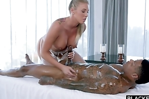 Busty fuckdoll everywhere white stockings serves BBC everywhere bed