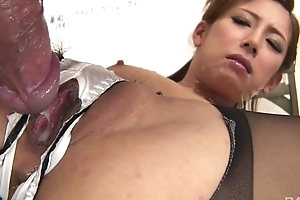 Japanese office babe gets fucked hard through get under one's hole in will not hear of panties