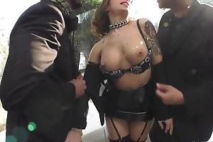 Wild hooker takes a handful of big meaty schlongs in her ass