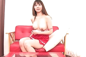Asian bombshell bonks herself just about double-sized sex toy