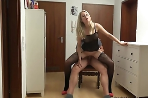 Amateur German MILF serves lover's prick in POV