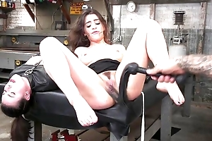 Tattooed stud-horse dominates over twosome spunky brunettes