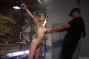 Bound sub nearby unartificial boobs gets roughly fucked wide of will not hear of master