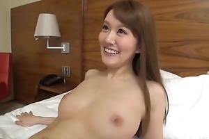 Slim Oriental lady sucks with an increment of rides lover's hard flannel