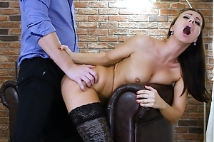 Dark-haired nymph forth black stockings acquires properly drilled
