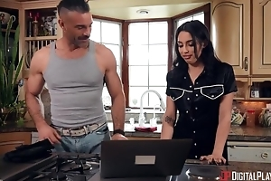 Grotesque brunette with sincere tits got sodomized here the kitchen