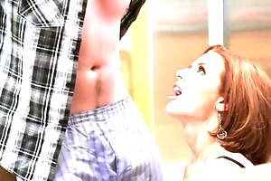 Redhead mature with big bosom seduced her feeble-minded stepson