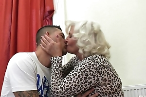 Perverted granny in stockings plus self-assertive heels shagged on the divan