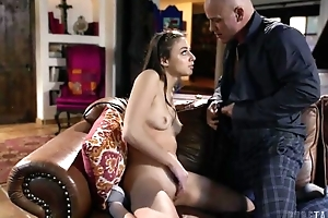 Odd brunette gets anally punished overwrought her stepfather