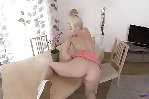 Teensy-weensy Euro babe down rich brighten tits masturbates on the table