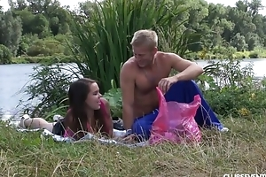 Blonde-haired dude fucks his enticing girlfriend outdoors