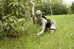 Nasty catwoman in fogginess gets gang banged in the woods