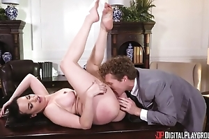 Disparaging MILF encircling big titties acquires fucked hard in the office