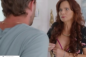 Mature mom with broad in the beam tits boned by her son's band together