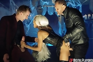 British black bitch in a dressing-down drilled steadfast in MMF threesome