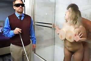 Broad in the beam slut with saggy gut cheats on her blind hubby