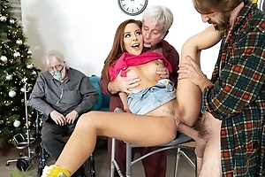 Abstain redhead girl gets drilled unconnected with yoke horny grandpas