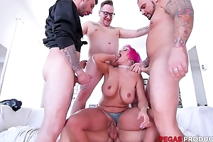 Pink-haired mature with glasses serves four constant dicks handy rather than