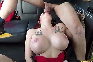 Big-breasted whore receives drilled off out of one's mind her taxi Ganymede