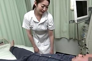 Pulchritudinous Asian nurse gives her patient a hot blowjob
