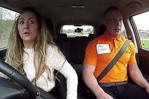 Long-haired MILF blows their way car driving motor coach